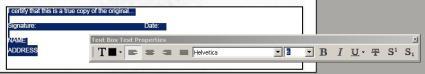 Textbox Properties Tool Bar