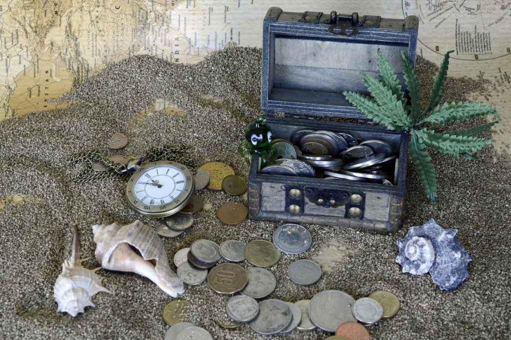 gray wooden coin box with green leaf plant on gray sand